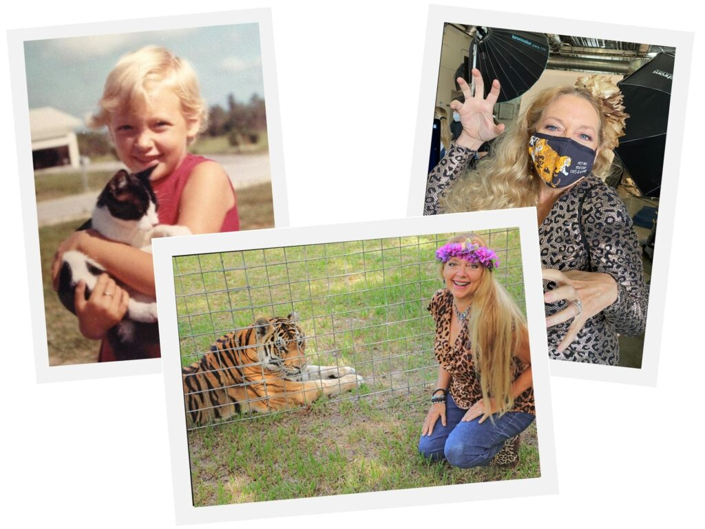 A collage of Carole Baskin as a child with her cat, as an adult with a tiger and posing while wearing a face mask.