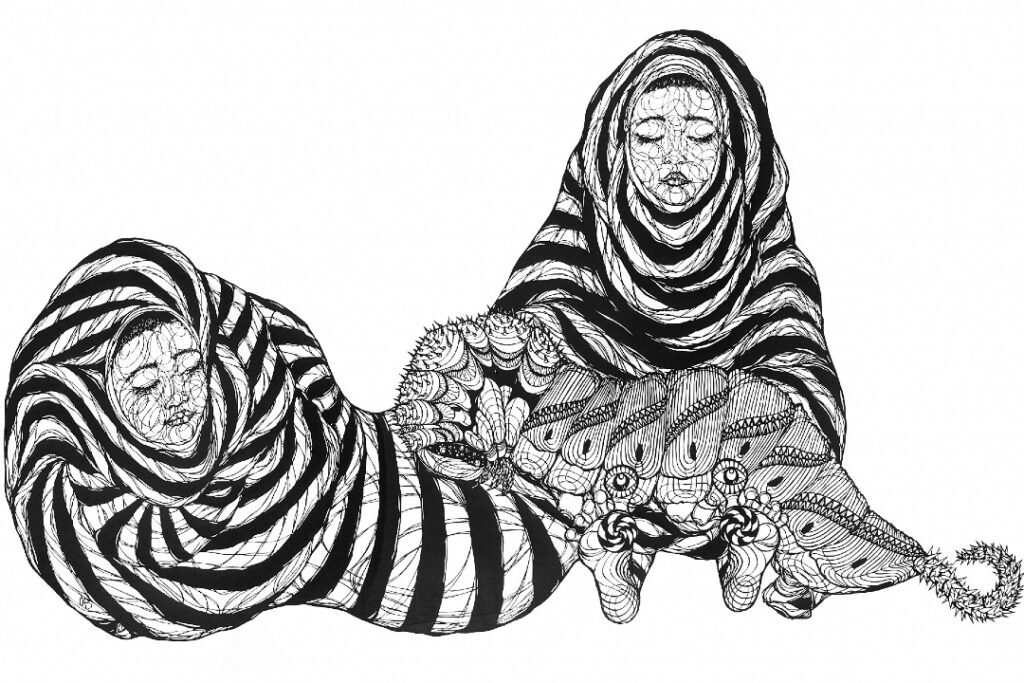 Two people are cocooned together in stripes. A caterpillar is on their lap.
