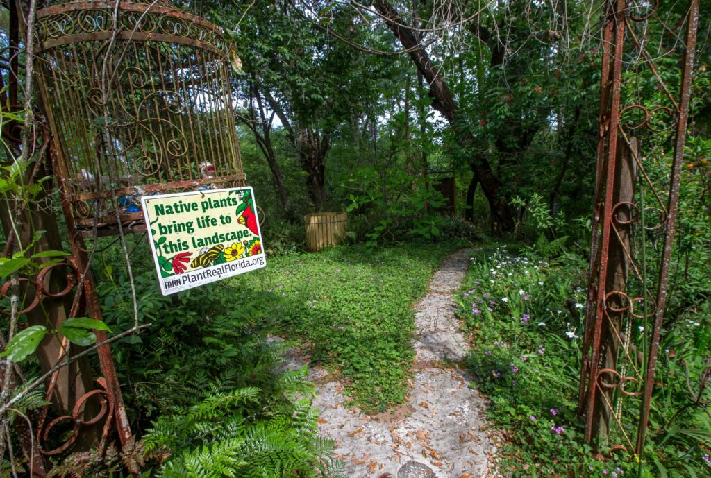"""Green foliage abounds and a sign hands from a rusted bird cage and arched arbor. The sign says """"Native plants bring life to this landscape."""" It has a website listed: PlantRealFlorida.org."""