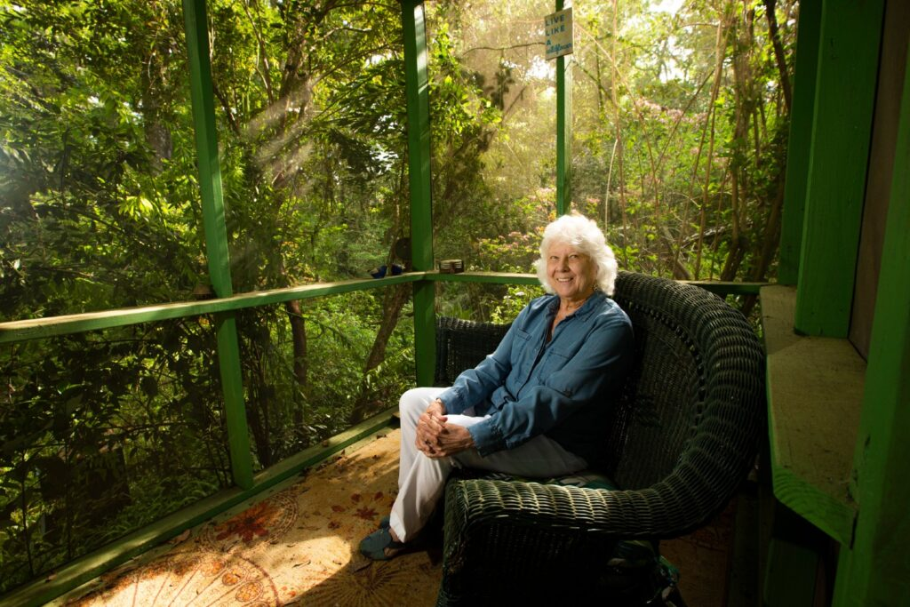 Eleanor Dietrich has white hair at her shoulders and wears a blue top and khaki pants. She is illuminated by the sun streaming in the screen of the sunroom, which is painted green.
