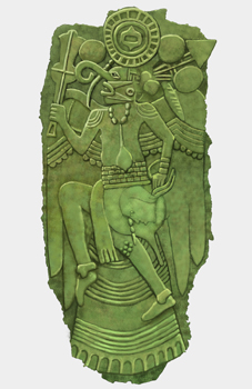 In In this illustration of a green copper plate, a man, a falcon dancer, appears carved out of the material. He wears a bird mask and cape. In the background are various arrows and decorations.